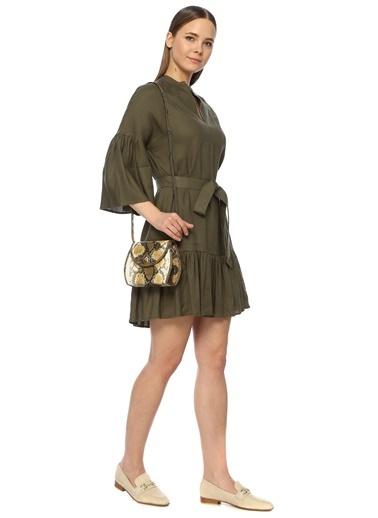 Divarese Divarese 5024492 Yılan Derisi Desenli Kadın Omuz Çantası Sarı